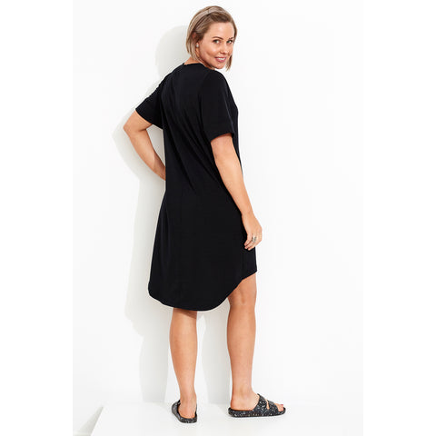 Womens T.Shirt Dress with stepped hem SS18