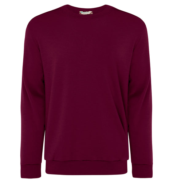 Mens Australian Made Merino Jumper Burgundy
