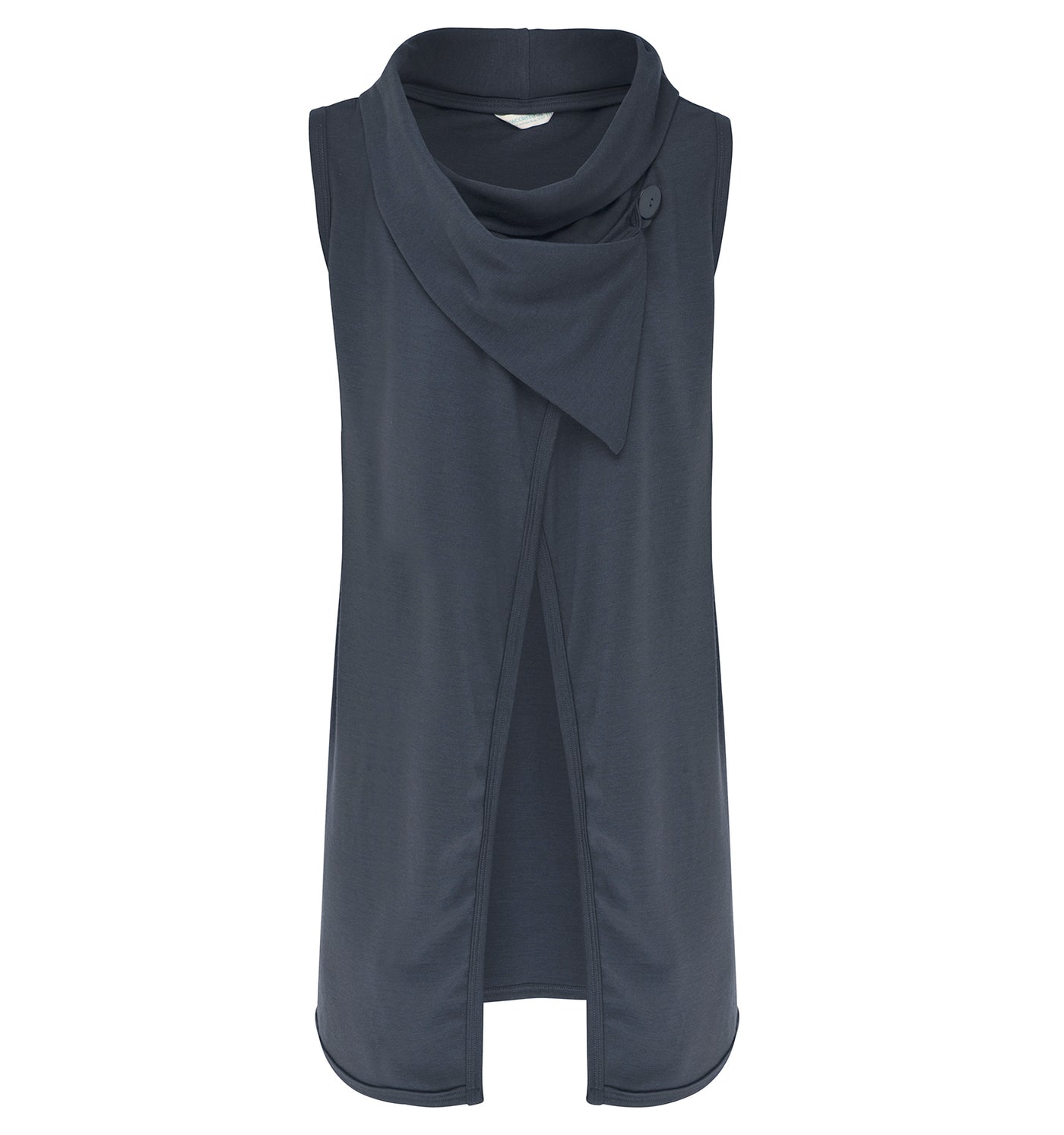 Womens Longline Sleeveless Shawl Cardigan