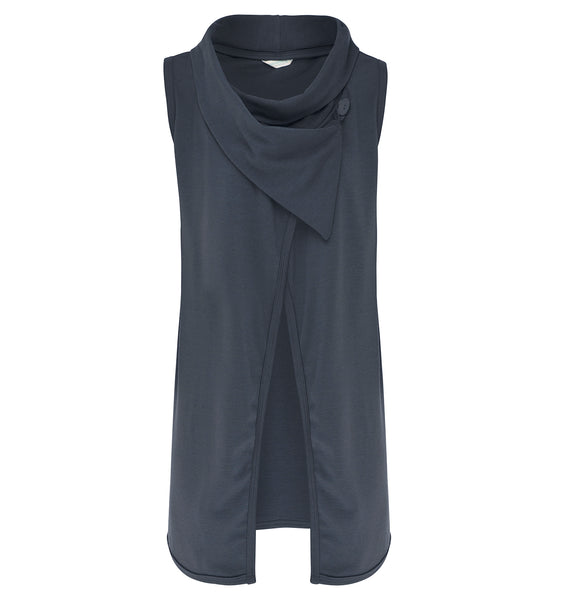 SALE Womens Longline Sleeveless Shawl Cardigan