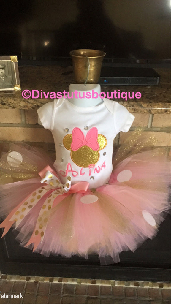 Pink And Gold Minnie Mouse Tutu Set First Birthday Outfits Girl