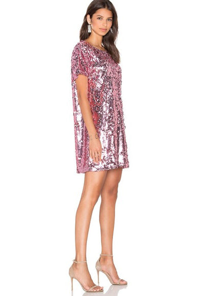 DISC SEQUIN BACKLESS DRESS