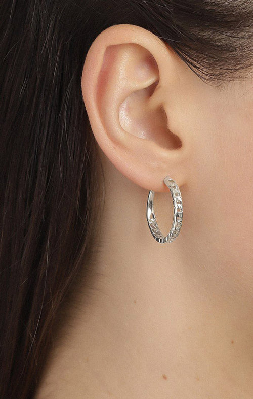 PILGRIM CHAINLINK EARRINGS IN SILVER - MEDIUM
