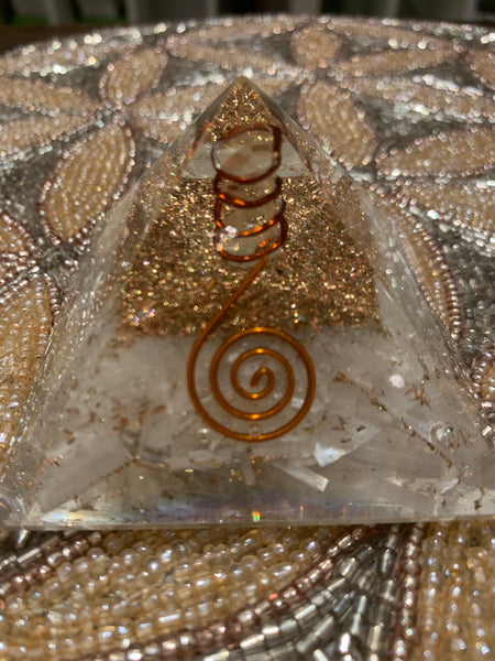 Selenite Crystal Copper Orgone Pyramid