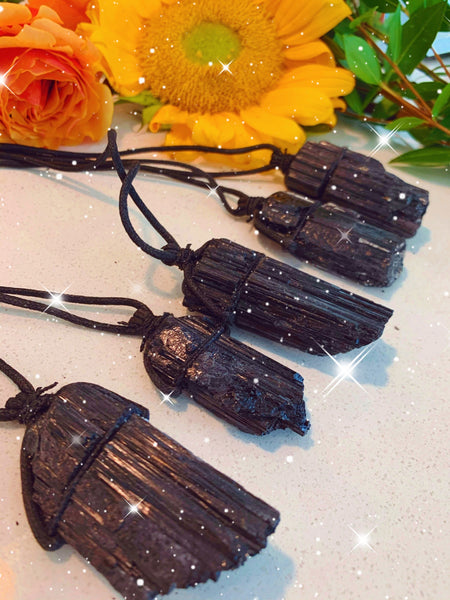 Large Rough Black Tourmaline String Necklace