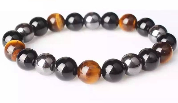 Small Tiger Eye, Hematite & Black Obsidian Bracelet