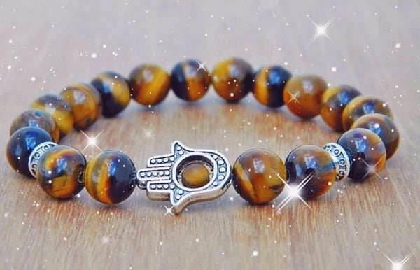 Beautiful Tiger Eye Hamsa Protection Bracelet