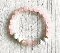 Beautiful Rose Quartz & Howlite Calming Bracelet