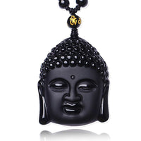 Black Obsidian Buddha Necklace