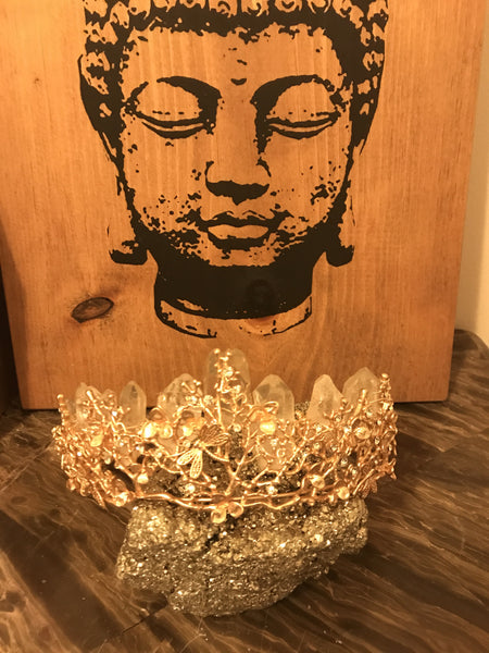 Gold Goddess Brazilian Quartz Leaf Crown