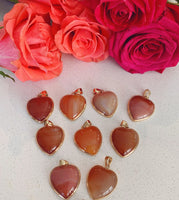 Gold-Plated Carnelian Heart Pendant