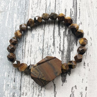 Tiger Eye Faceted and Rough Stone Bracelet