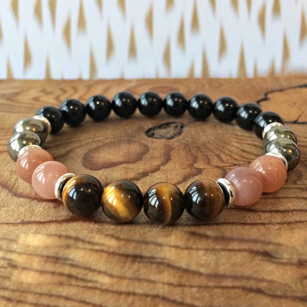 Peach Moonstone Black Onyx Pyrite Tiger Eye Bracelet