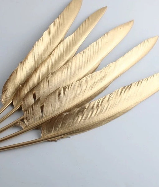 Gold Smudging Feather For White Sage and Palo Santo
