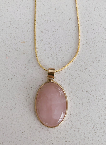 Polished Gold-Plated Rose Quartz Necklace