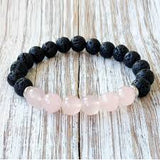 Beautiful Rose Quartz & Lava Stone Grounding Bracelet