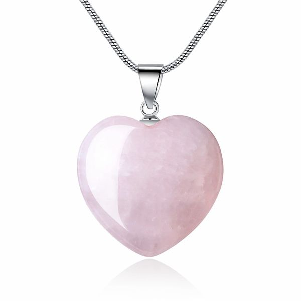 Rose Quartz Heart Love Pendant - Love Yourself First!