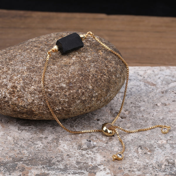 Rough Gold-Plated Black Tourmaline Adjustable Bracelet