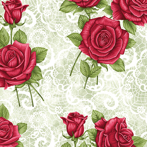 Festive Lace Roses Green