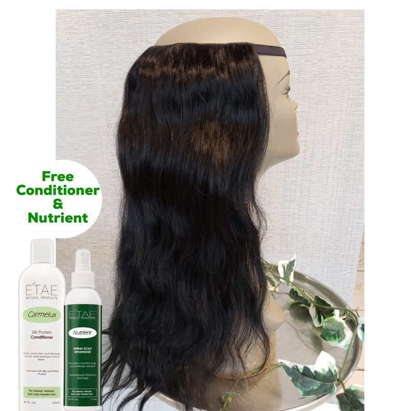 U-PART HUMAN HAIR CLIP-ON WIG 14inch includes a FREE Carmelux Silk Conditioner & Nutrient Spray