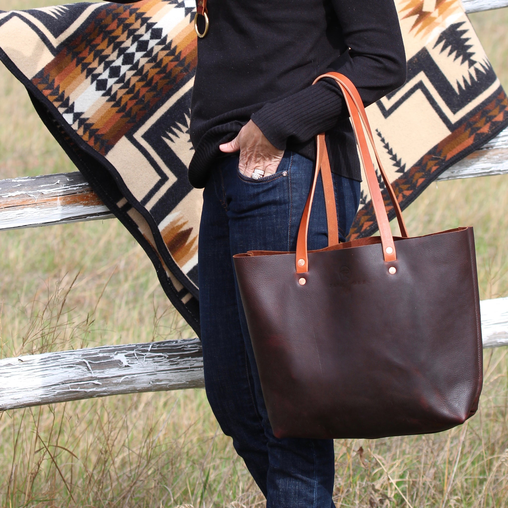 Original Brown Leather Tote Bag-Large
