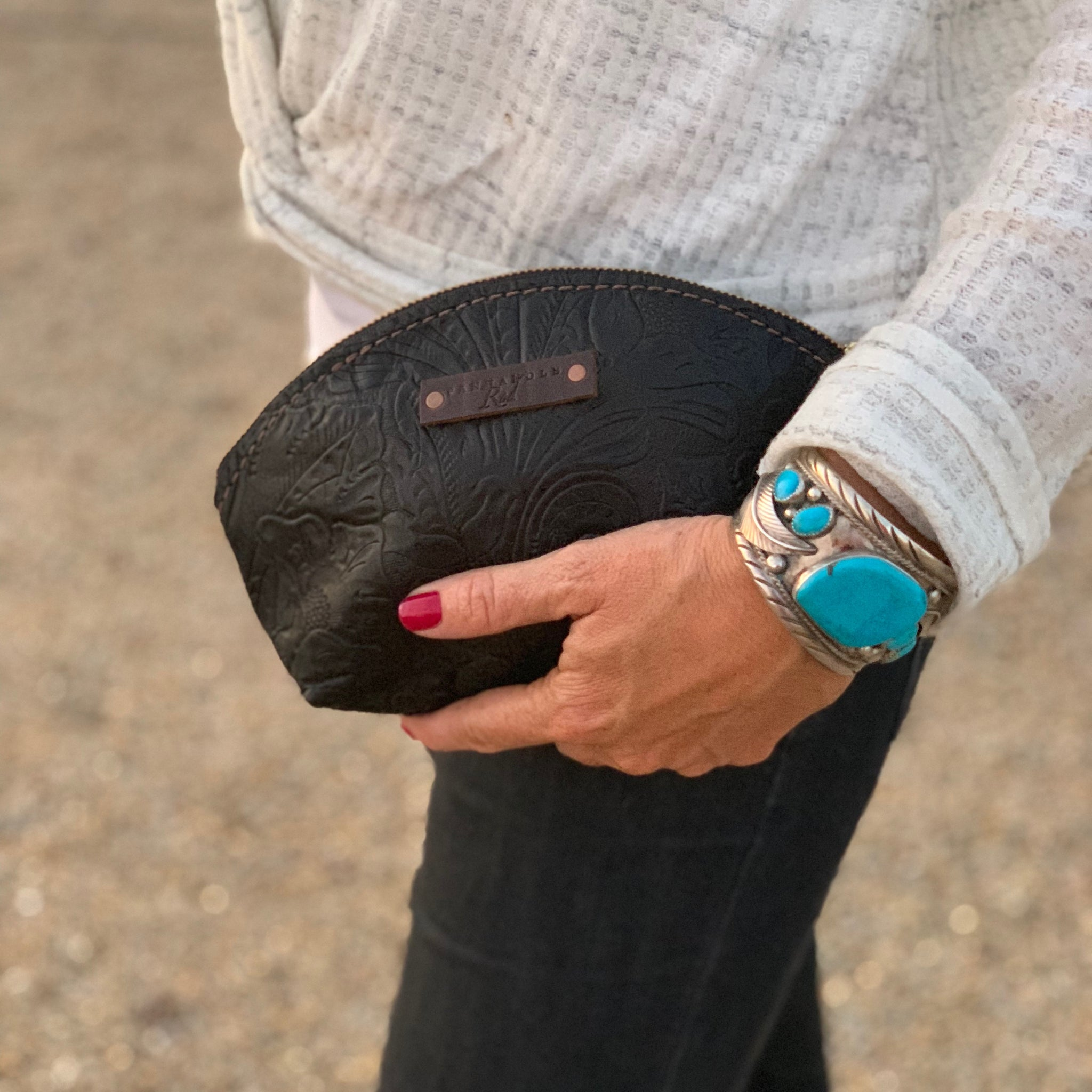 Leather Canfield Clutch-Black Sheridan