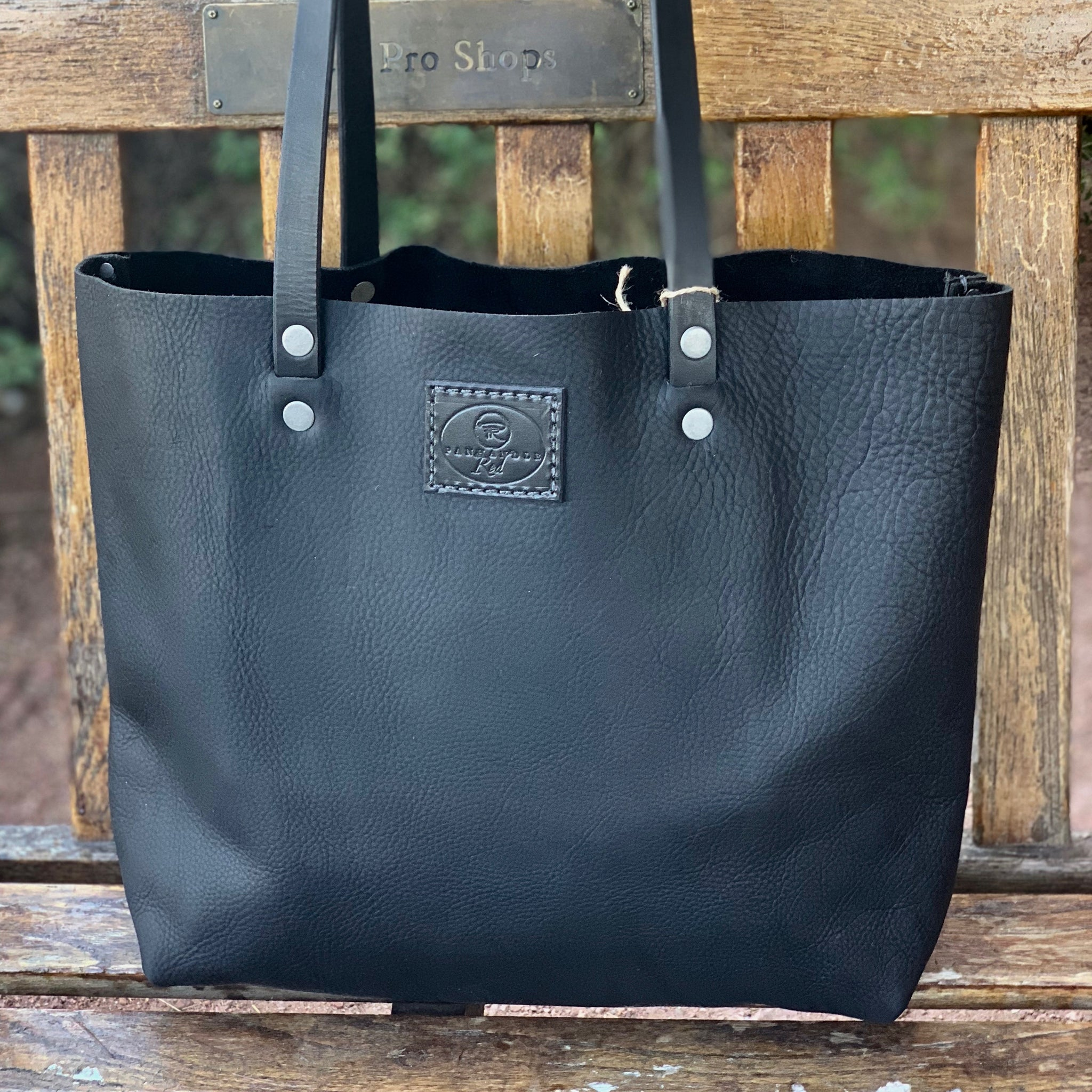 Black/Onyx Full Grain Leather Tote with Black Strap-Large