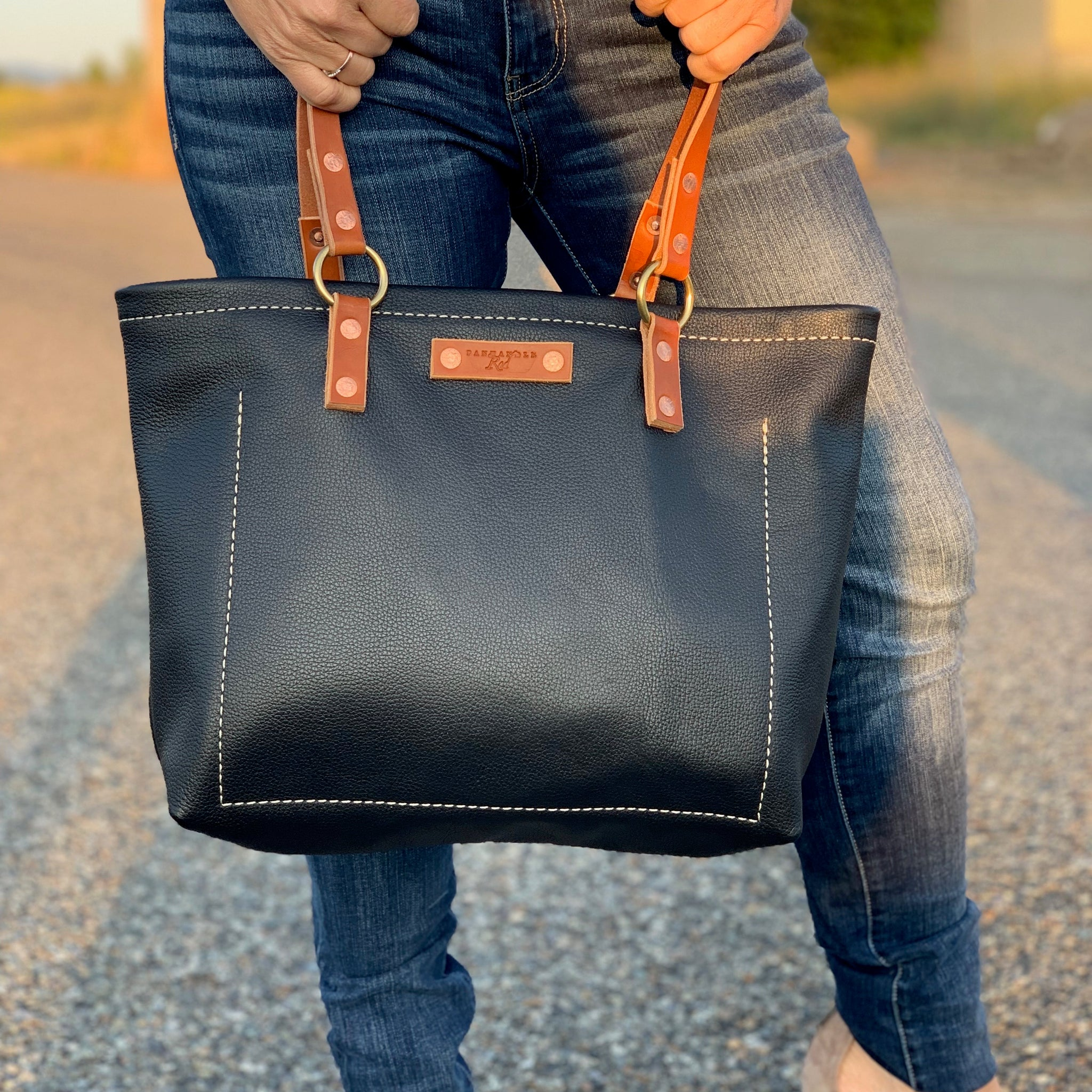 "Panhandle Red Leather Company ""The Tahoe"" black leather tote-purse. Panhandle Red Leather goods in North Idaho."