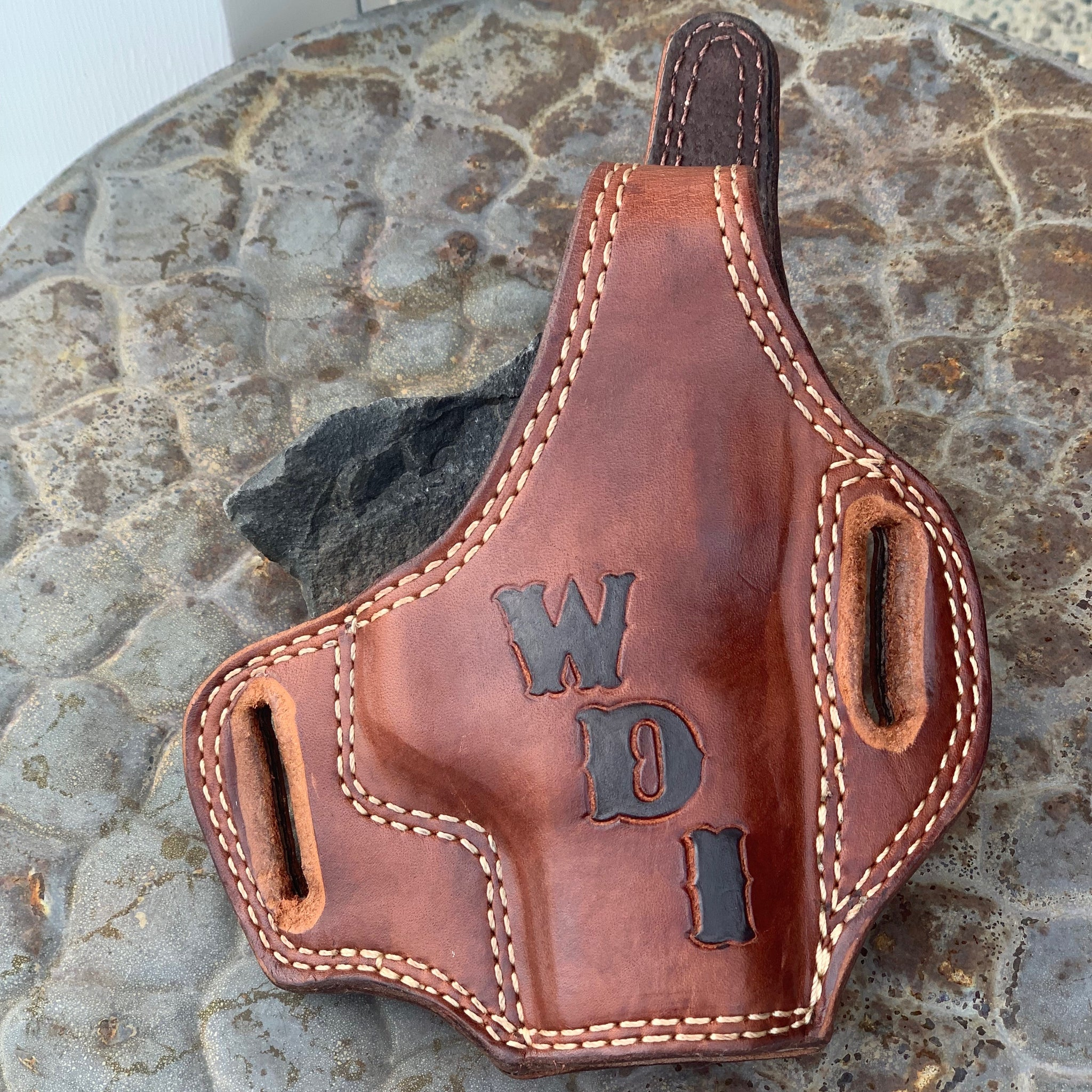 Panhandle Red Leather Holster. Bridle Leather, OWB Holster for Conceal Carry. Made in the USA