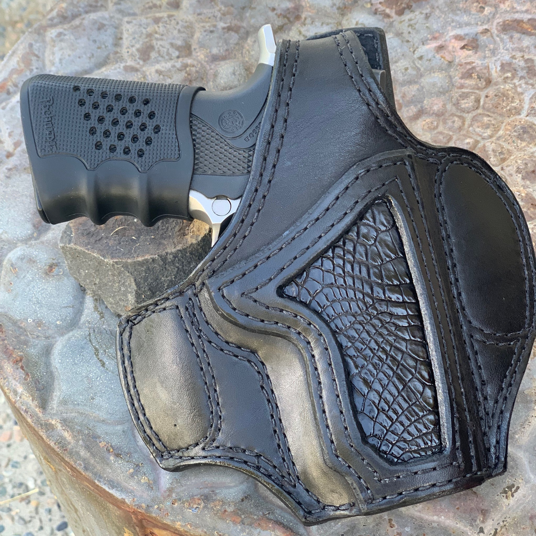 Panhandle Red Custom Handcrafted Leather Holster. Black Bridle Leather, OWB Holster for Conceal Carry..