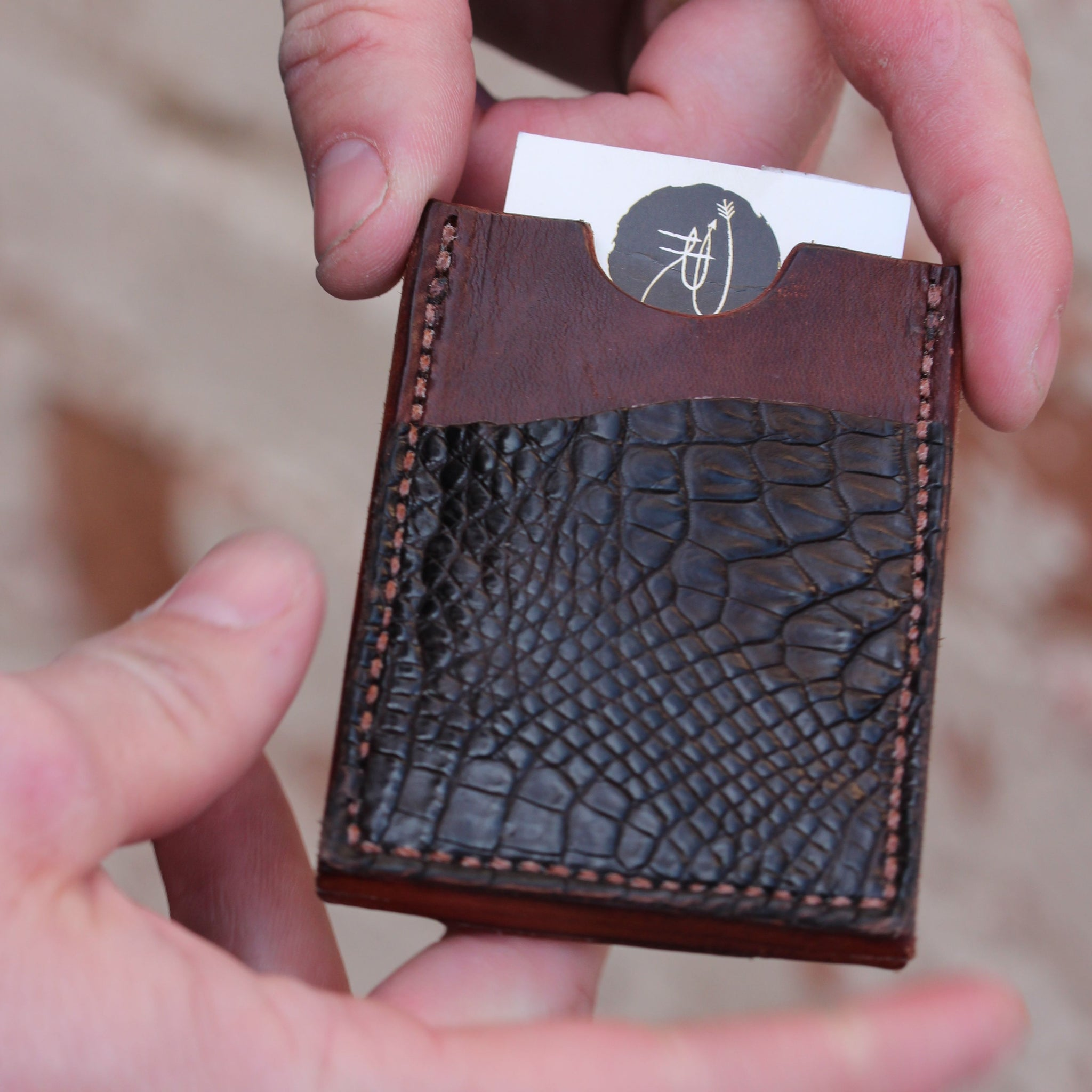 Men's Minimal Wallet-Brown Leather and Caiman Leather