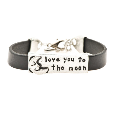 Love You to the Moon Black Leather Bracelet