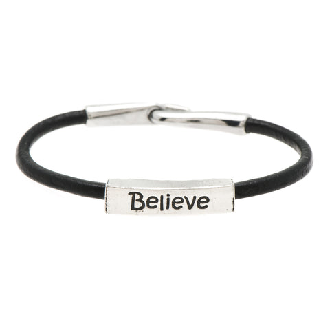 Believe Fine Pewter and Leather Bracelet