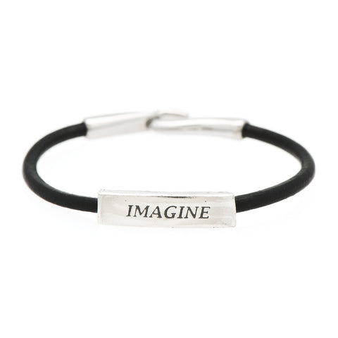 Imagine Fine Pewter and Leather Bracelet