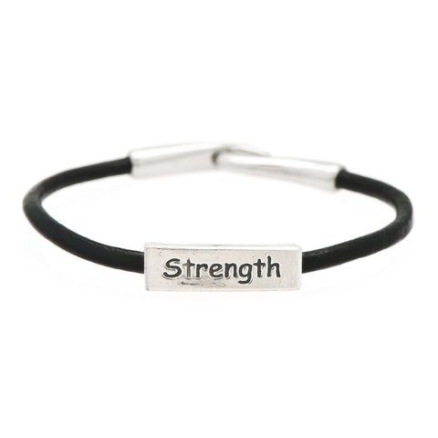 Strength Fine Pewter and Leather Bracelet