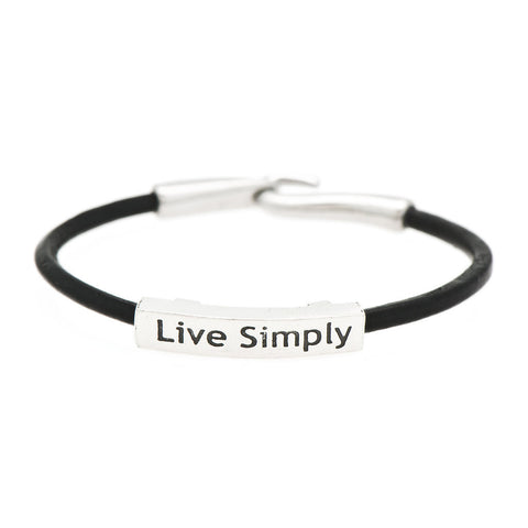 Live Simply Fine Pewter and Leather Bracelet