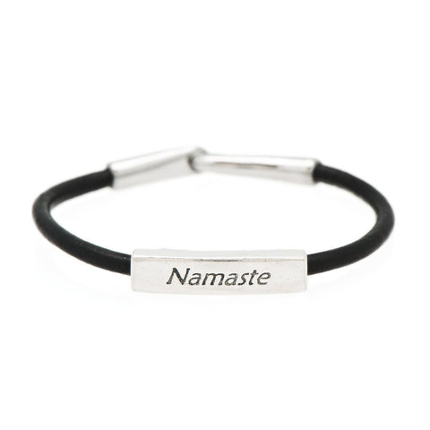 Namaste Fine Pewter and Leather Bracelet