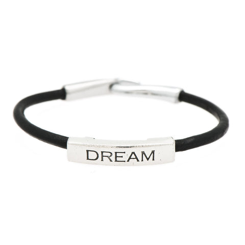 Dream Fine Pewter and Leather Bracelet