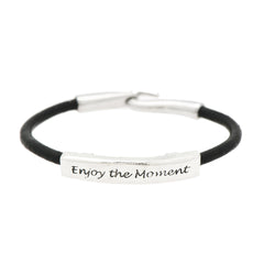 Enjoy the Moment Fine Pewter and Leather Bracelet