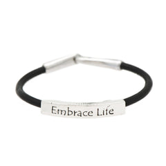 Embrace Life Fine Pewter and Leather Bracelet
