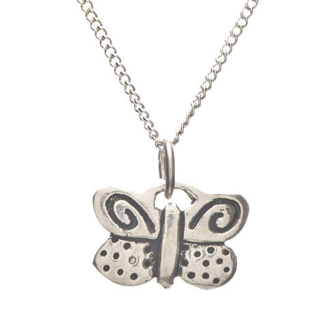 Pewter Butterfly Charm Necklace