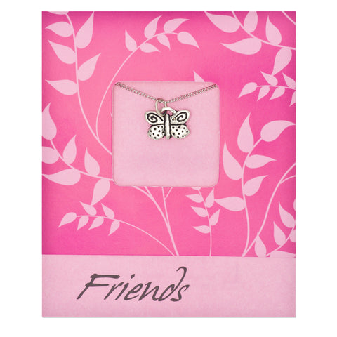 Friends Butterfly Pendant Charm Necklace