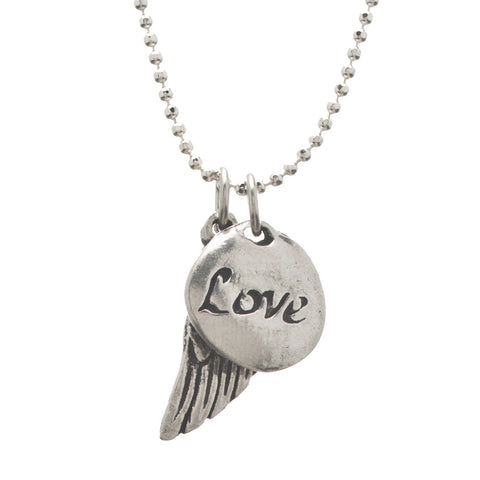 Love Angel Wing Double Pendant Charm Necklace