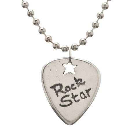 Guitar Pick Rock Star Pendant Charm Necklace