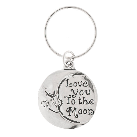 Love You to the Moon Pewter Key Ring