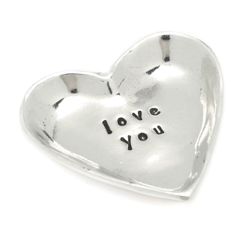 Love You Heart Small Pewter Trinket Dish