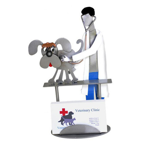 Male Veterinarian with Dog Business Card Holder