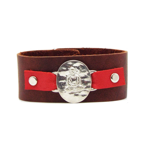 Buddha Leather Cuff Bracelet