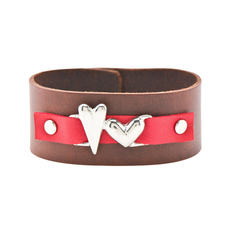 Two Hearts Leather Cuff Bracelet