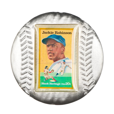 Baseball Paperweight with Jackie Robinson Stamp
